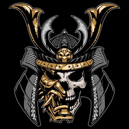 Samurai skull illustration