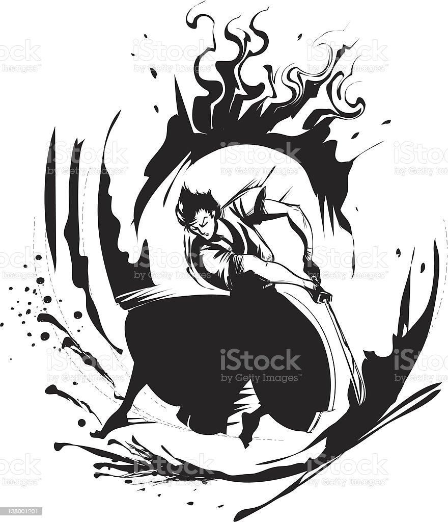Samurai - illustrazione arte vettoriale