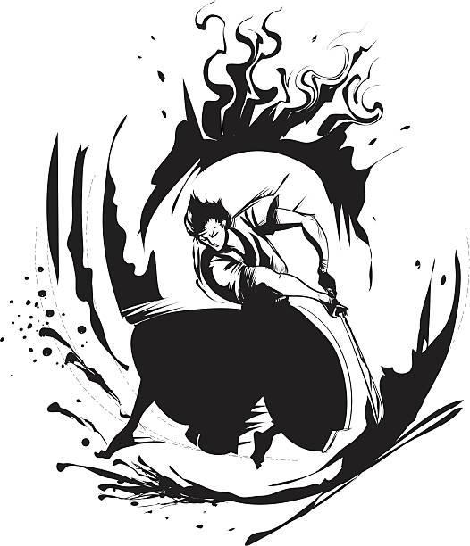 Samurai - ilustração de arte em vetor
