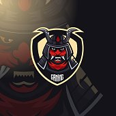 Samurai warrior mascot design vector with modern illustration concept style for badge, emblem and t shirt printing. Angry samurai warrior illustration for sport and e-sport team
