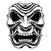 Samurai warrior mask black and white design
