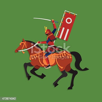 Vector illustration concept of Samurai Riding Horse with Katana Sword, Warrior in Japanese tradition