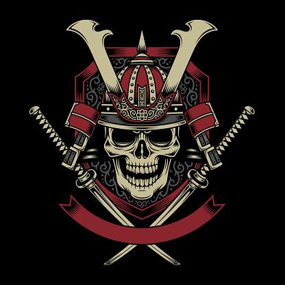 Samurai Warrior Skull with Crossed Katana Swords