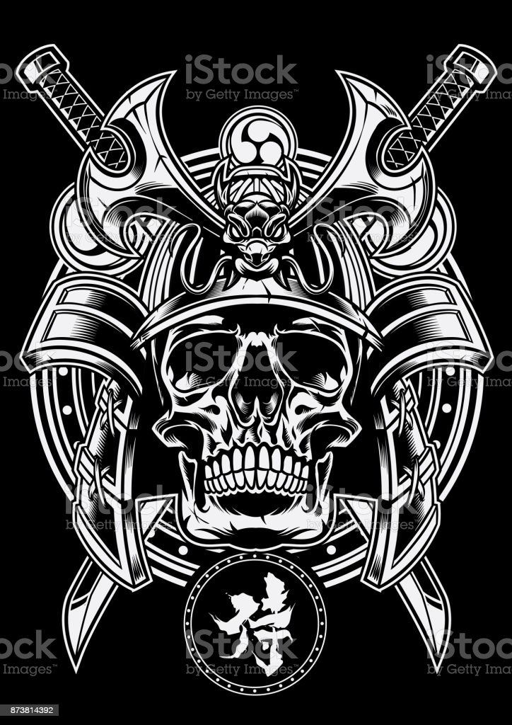 Samurai Warrior Skull With Traditional Japanese Sword Of Katana Royalty Free