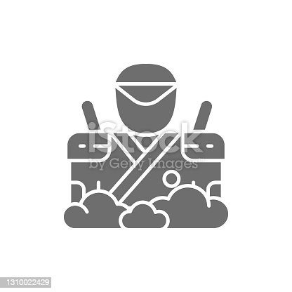 istock Samurai with two swords, japanese warrior, spy grey icon. 1310022429