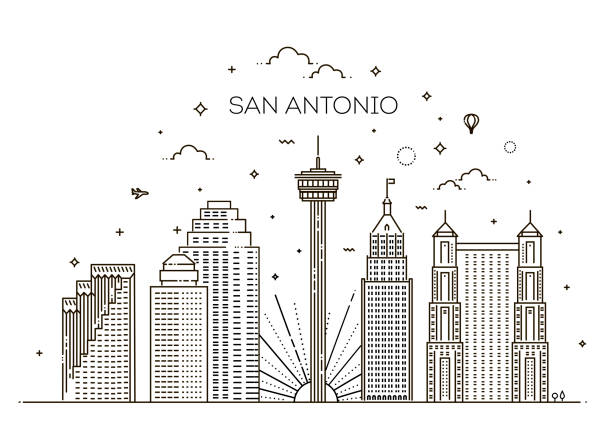 San Antonio Stadt Skyline Vektor Hintergrund – Vektorgrafik