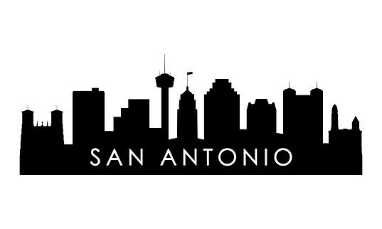 San Antonio skyline silhouette. Black San Antonio city design isolated on white background.