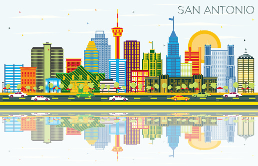 San Antonio Texas Skyline with Color Buildings, Blue Sky and Reflections.