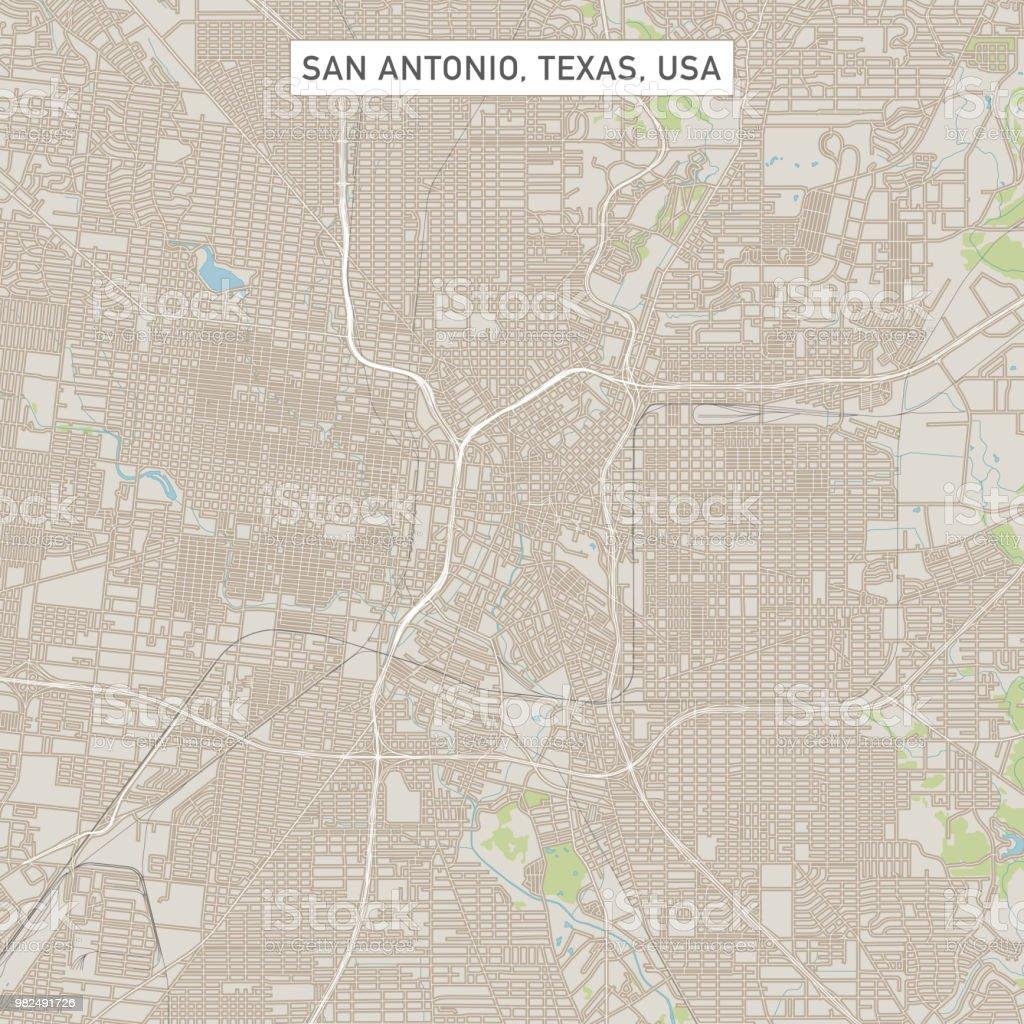 San Antonio Texas Us City Street Map Stock Illustration ...
