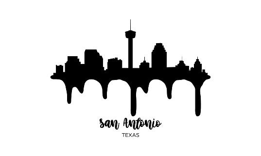 San Antonio Texas USA black skyline silhouette vector illustration on white background with dripping ink effect.