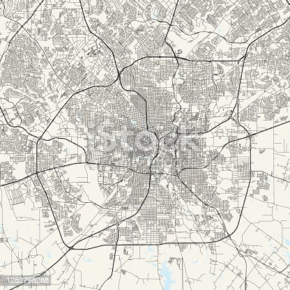Topographic / Road map of San Antonio, TX, USA. Original map data is public domain sourced from www.census.gov/