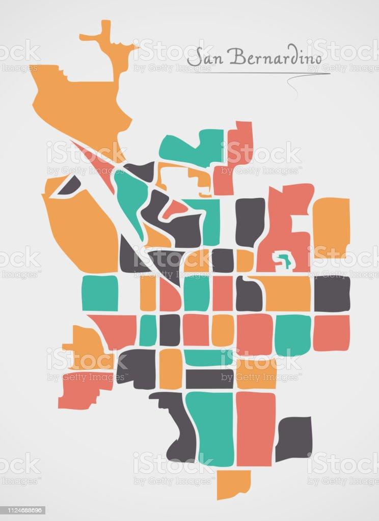 San Bernardino California Map Mit Nachbarschaften Und Moderne Runde on