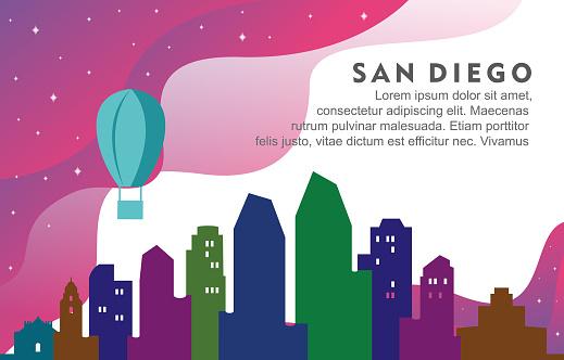San Diego California City Building Cityscape Skyline Dynamic Background Illustration