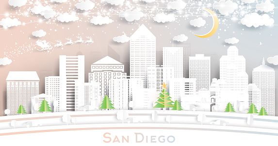 San Diego California City Skyline in Paper Cut Style with Snowflakes, Moon and Neon Garland.