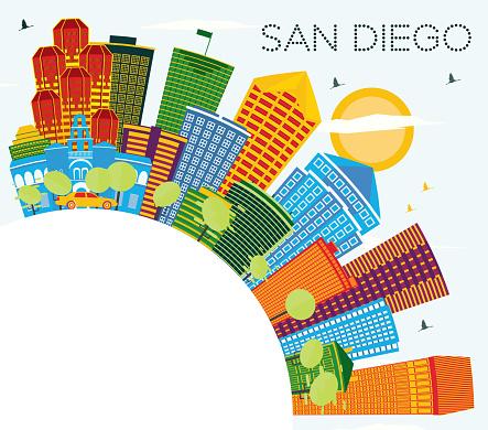 San Diego California City Skyline with Color Buildings, Blue Sky and Copy Space.