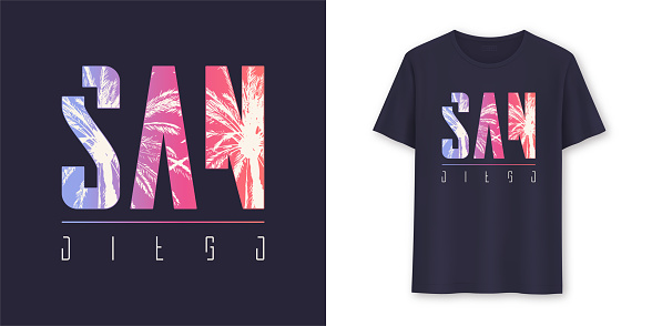 San Diego California stylish graphic t-shirt vector design, poster, typography