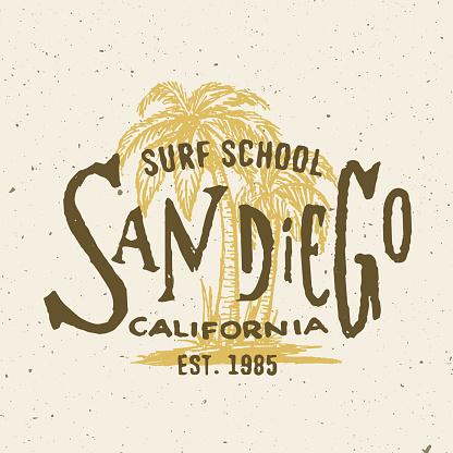 San Diego California Surf School T shirt graphic.
