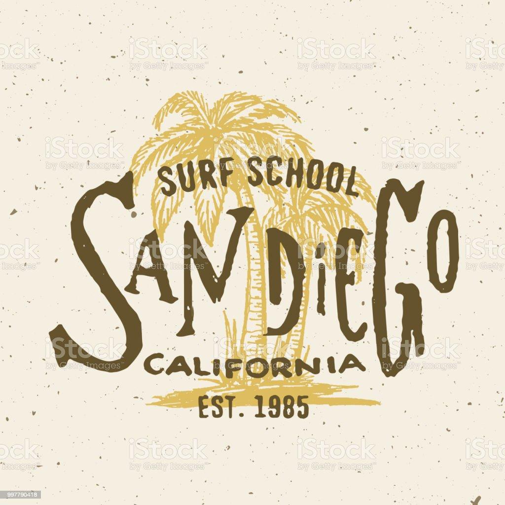 Gráfico de San Diego California Surf escuela T shirt. - ilustración de arte vectorial