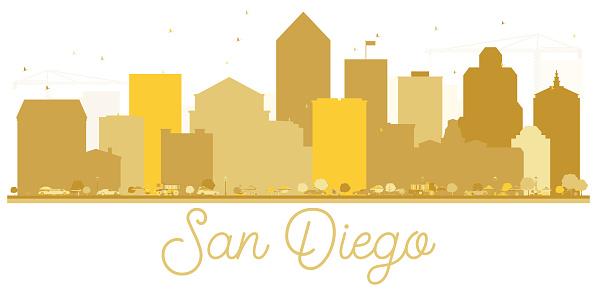 San Diego California USA City Skyline Golden Silhouette.