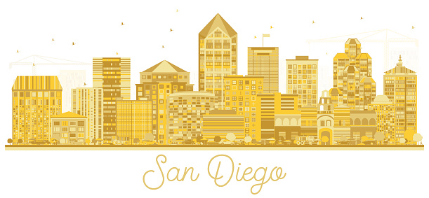 San Diego California USA City Skyline Silhouette with Golden Buildings Isolated on White.