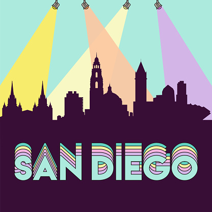 San Diego California USA skyline silhouette flat design vector illustration