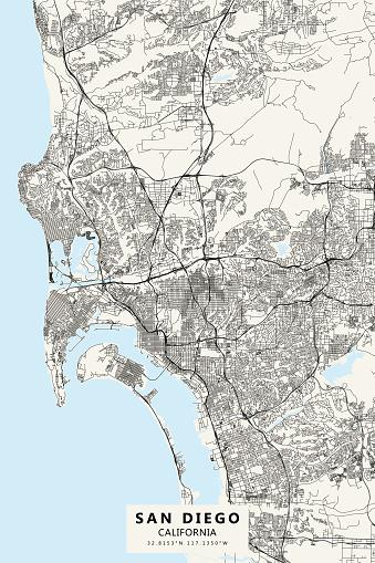 San Diego, California, USA Vector Map
