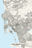 Poster Style Topographic / Road map of San Diego CA. Original map data is public domain sourced from www.census.gov/