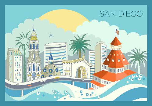 San Diego city skyline + landmarks + scrapers. Detailed urban panoramic illustration. Editable stroke