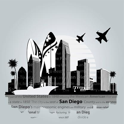 San Diego cityscape vector.
