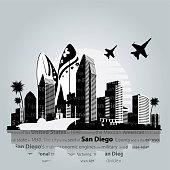 San Diego city skyline. Vector illustration