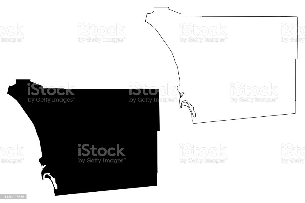 California Map San Diego County.San Diego County California Map Vector Stock Illustration Download
