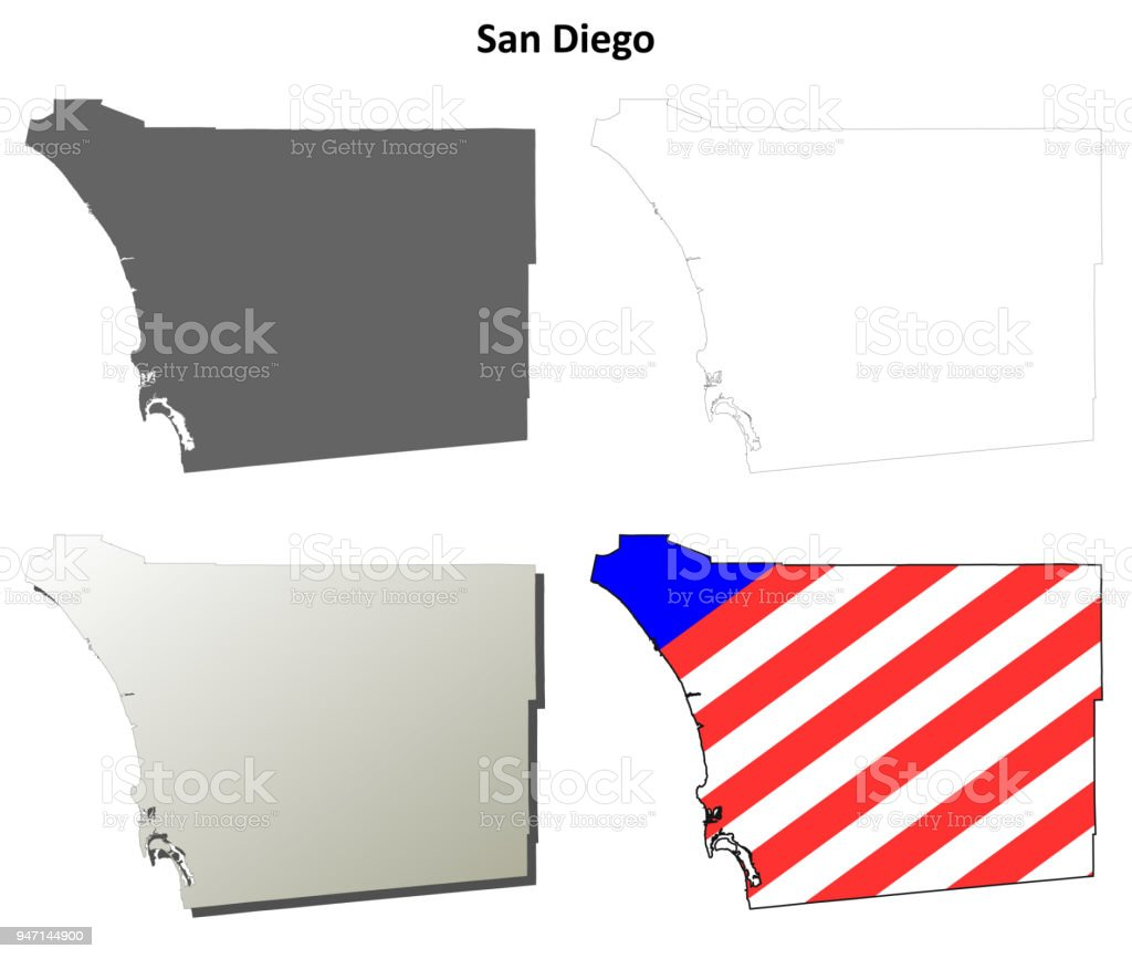 San Diego County California Outline Map Set Royalty Free