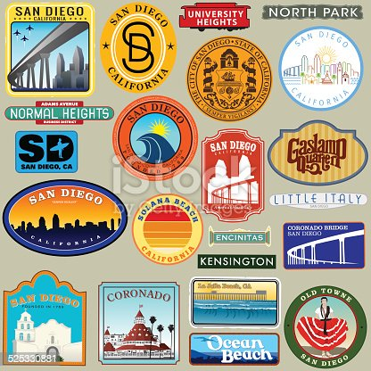 San Diego Diego Retro Decal Group.