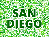 San Diego Environmental Conservation Vector Icon Pattern