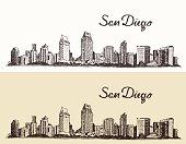 San Diego skyline big city architecture vintage engraved vector illustration hand drawn sketch