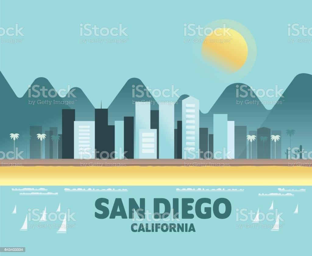 san diego skyline iconic of cities royaltyfree stock vector art