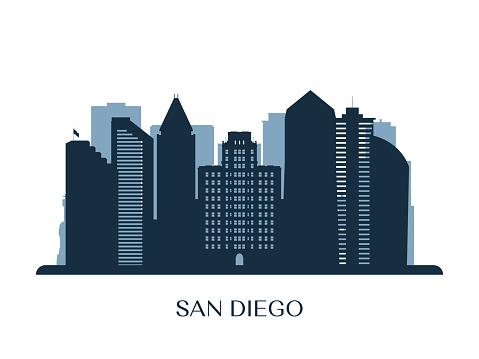 San Diego skyline, monochrome silhouette. Vector illustration.