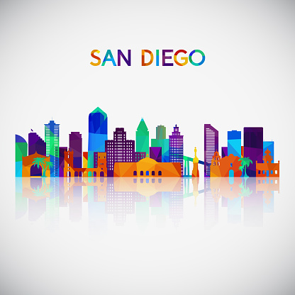 San Diego skyline silhouette in colorful geometric style. Symbol for your design. Vector illustration.