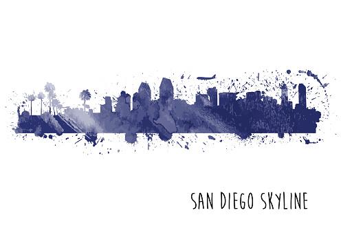 San Diego Skyline Watercolor