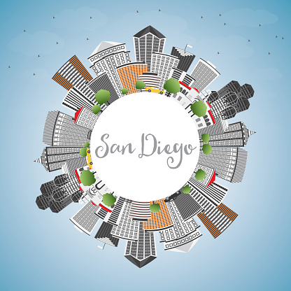 San Diego Skyline with Gray Buildings, Blue Sky and Copy Space.