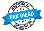 San Diego stamp. welcome to San Diego blue sign