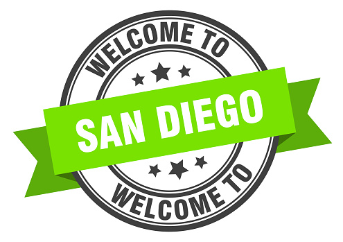 San Diego stamp. welcome to San Diego green sign