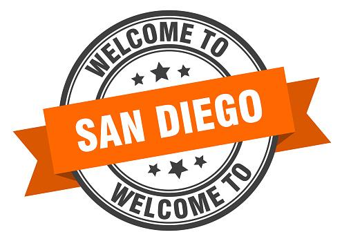 San Diego stamp. welcome to San Diego orange sign