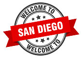 San Diego stamp. welcome to San Diego red sign