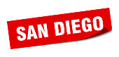 San Diego sticker. San Diego red square peeler sign