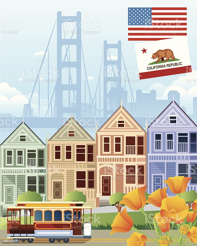 San Francisco and  California Golden Poppy royalty-free san francisco and california golden poppy stock vector art & more images of american flag
