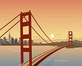San Francisco and Golden Gate Bridge Scene