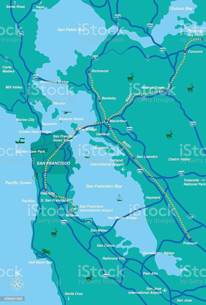 San Francisco Bay Area Map vector art illustration