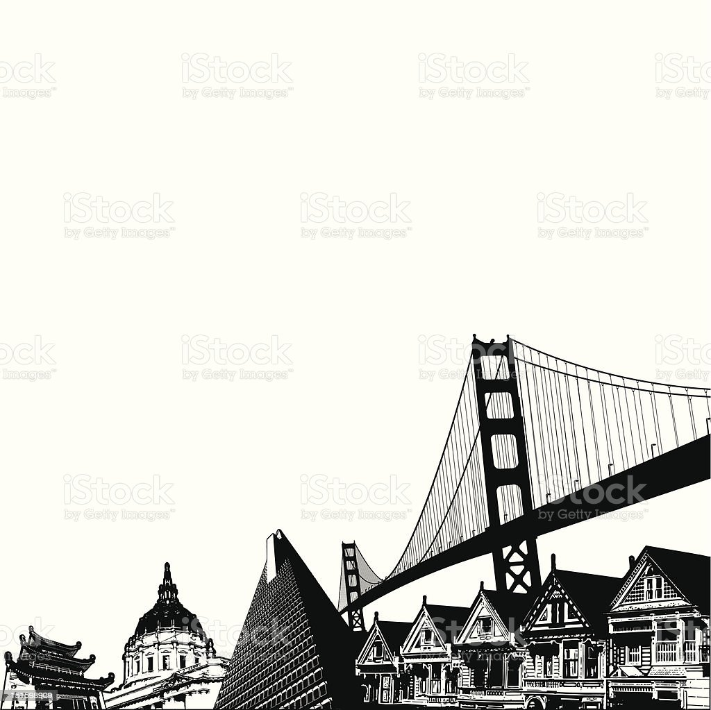 San Francisco buildings royalty-free stock vector art