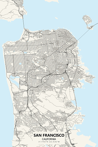 San Francisco, California Vector Map